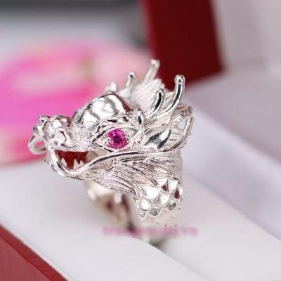 nhẫn bạc nam hình đầu rồng đẹp