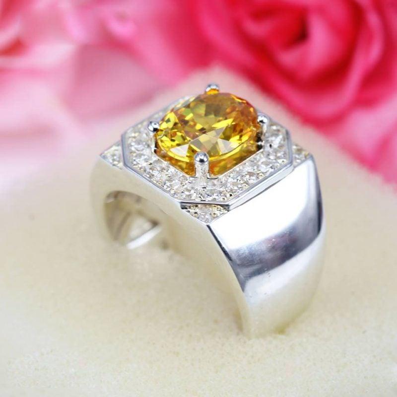 nhẫn bạc nam cao cấp đá vàng