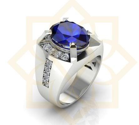 nhẫn bạc nam đẹp đá xanh