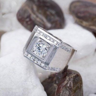 nhẫn bạc nam cao cấp đính đá trắng