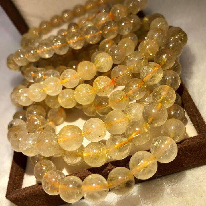 vòng tay phong thủy đá thạch anh vàng