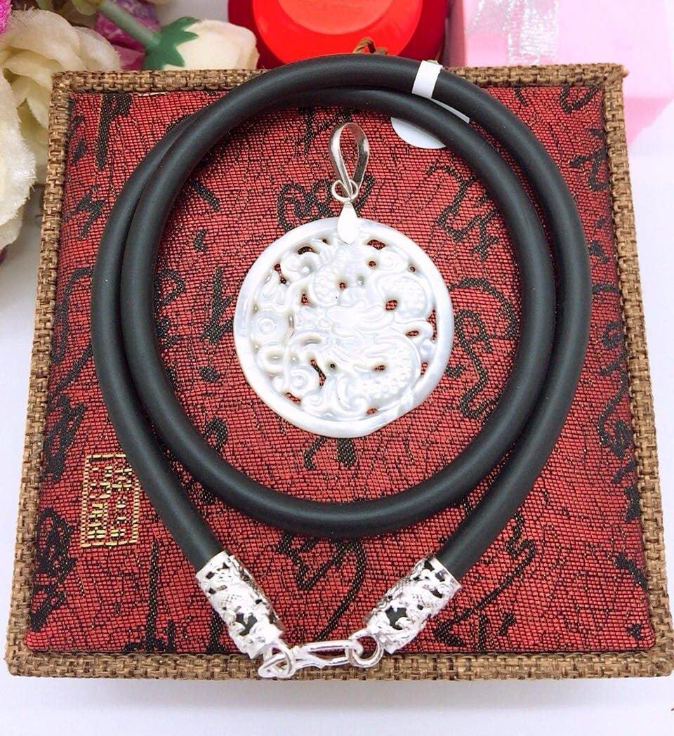 vòng cổ dây cao su bọc bạc 2 đầu