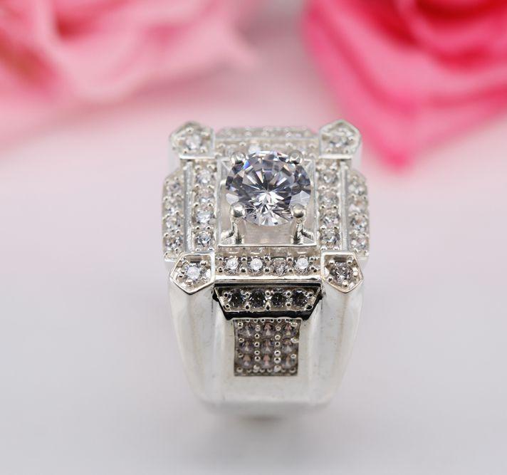 nhẫn bạc nam cao cấp đá trắng