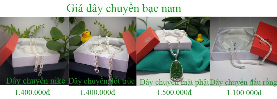 Bảng giá dây chuyền bạc nam tại Bạc Tiểu Phương update ngày 17/03/2019