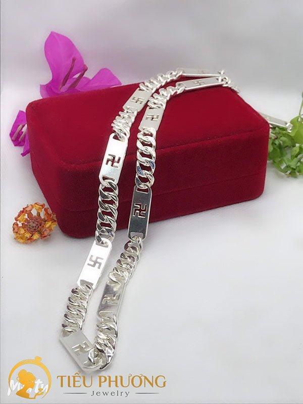 dây chuyền bạc nam khắc chữ Vạn