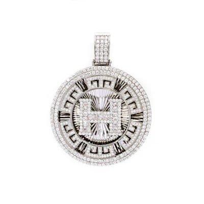 mặt dây chuyền nam chữ H bằng bạc cao cấp 925
