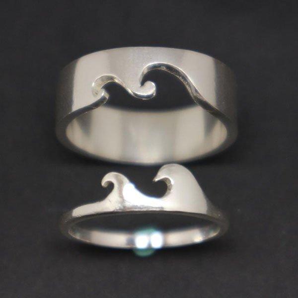 Mẫu nhẫn đôi bạc thiết kế độc đáo bằng bạc 925.