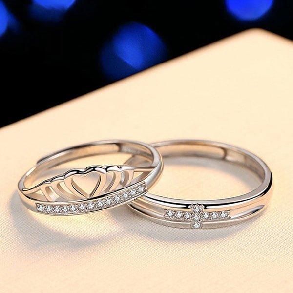 Nhẫn đôi King Queen bằng bạc cao cấp 925.
