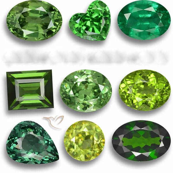 Những đá quý màu xanh lá cây làm nhẫn phong thủy cho nam mệnh Mộc.